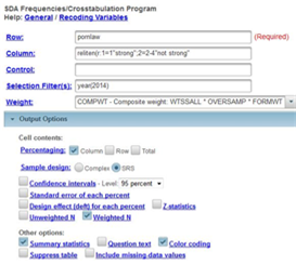 This image shows the crosstab dialog box to get the crosstabulation of the recoded variable reliten and pornlaw.  Note that we have selected SRS in the sample design line and have asked for the summary statistics.