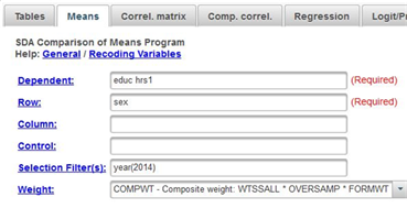 This image shows the SDA crosstabs dialog box with the dependent,  row, selection filter(s) and weight boxes filled in.