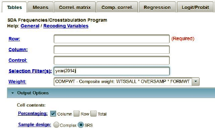 This image shows the regression dialog box in SDA with the selection filter(s) and weight boxes filled in.