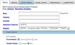 This image shows the regression dialog box in SDA with the selection filter(s) and weight boxes filled in.  Notice that SRS is selected in the sample design line.