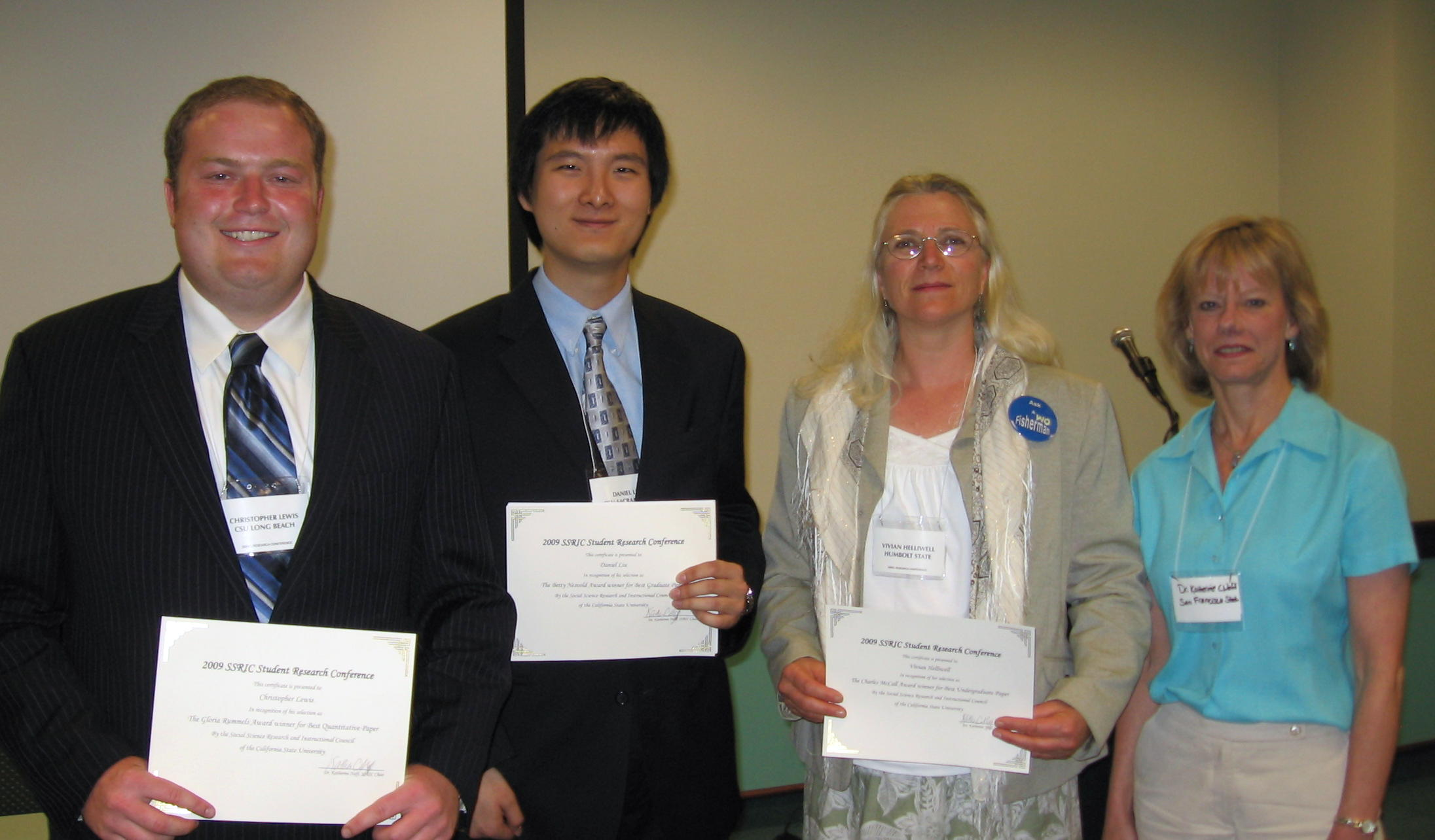 2009 Best Paper Award Winners, shown with SSRIC Chair Dr. Kathy Naff (right)